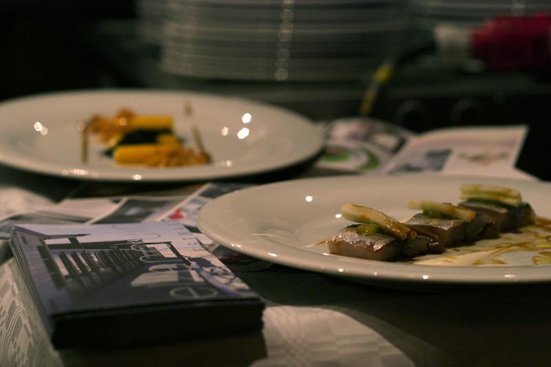 "Fresh raw mackerel dish on the foreground by ""de Zwethheul"""