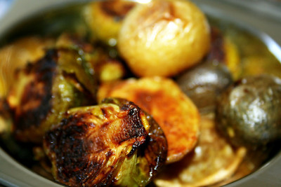 Brussels sprouts and young potatoes, marinated in cumin and coriander and turmeric, roasted in the oven. This was a big hit with my kids, it was all gone in a few minutes. I declare, this to be the best way to cook brussels sprouts.