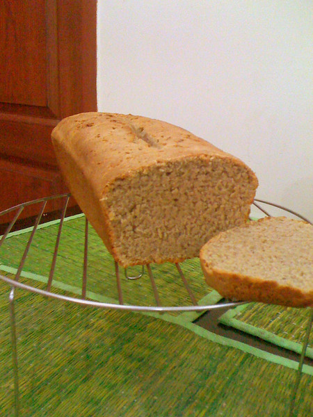 Whole wheat bread, with oats and ground flaxseed.