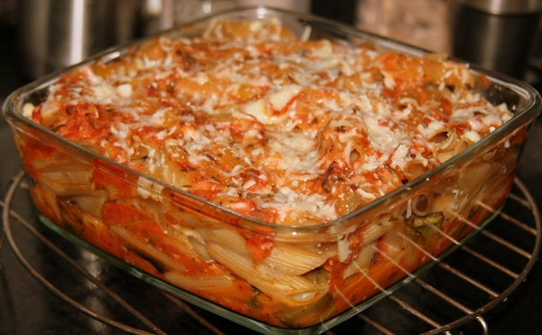 Dinner - Baked Penne with oven roasted vegetables and a simple tomato-basil sauce topped off with grated parmesan.
