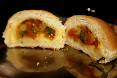 Masala buns, stuffed with potatoes, onions and tomatoes..