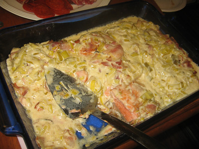 elynn's salmon in creamed leak sauce with bacon