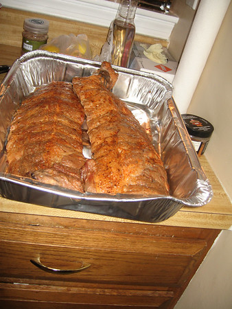 smoked ribs ready for the oven (they were cold smoked)