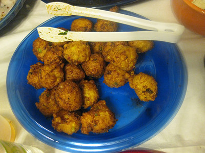 tony's seafood and pancetta corn fritters