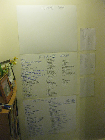 Setlists from all previous Fdays.  the early ones (1-3)  were done from memory and pictures!
