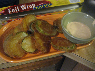 brad's fried pickles with spicy ranch