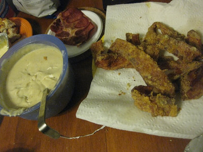 brad's chicken fried bacon and bacon gravy