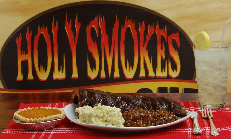 Holy Smokes BBQ in West Covina. A Slab of Baby backs, sides and a Sweet Potato Pie.