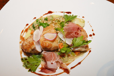 Duck Fat Roasted New Bedford Monkfish - Truffled Farro, Cipollini Onion, Radish, Prosciutto, Parsley