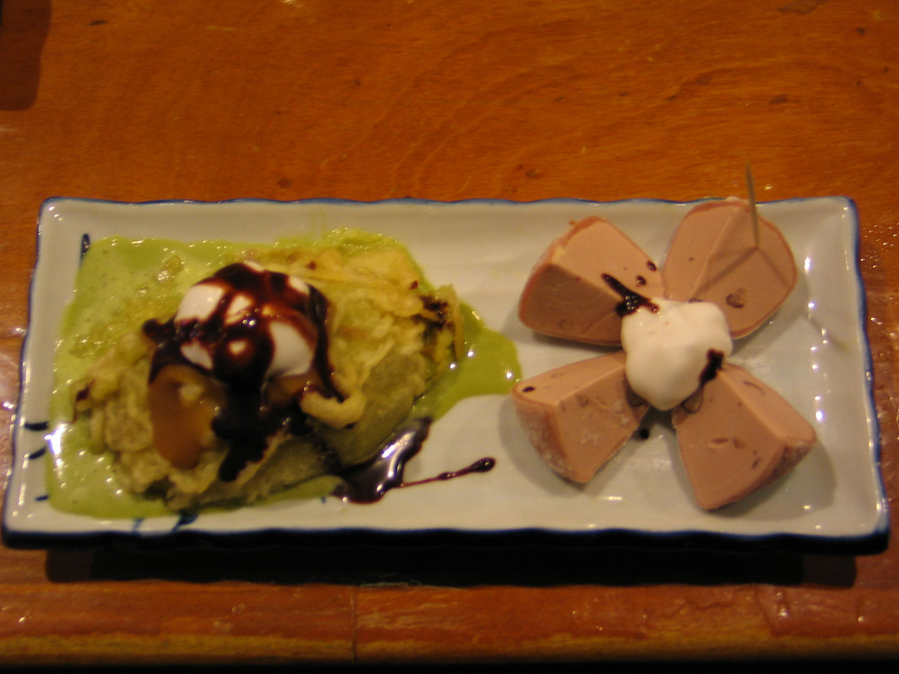 Deep fried green tea ice cream(sorry it's all melting) and red bean mochi!