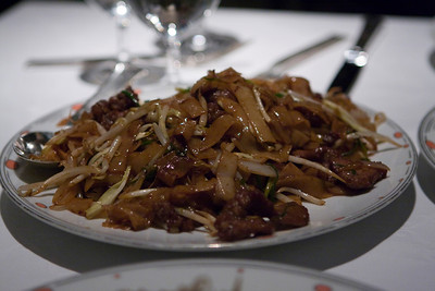 Beef Chow Fun.  They were a little overboard on the soy sauce.