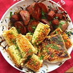 Halibut with Red Potatoes, Corn, and Linguiça Sheet Pan Dinner Recipe