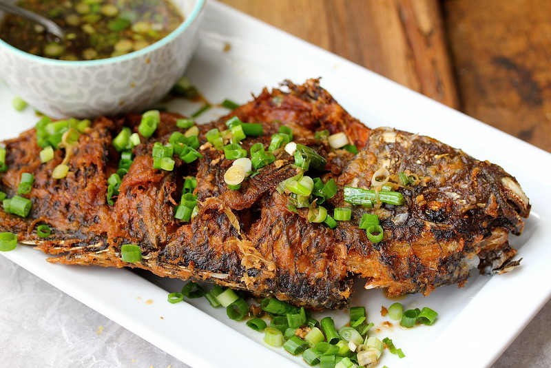 Crispy Tilapia with Ginger-Scallion Sauce from Karen's Kitchen Stories