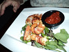 "Bacon Wrapped Shrimp - Sharp house made, cocktail sauce.  Served in ""Crossings"" in London, Ontario  29/01/14"