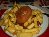 "Fishcake & Chips. Served in ""Rays"" on Portland  08/03/14"