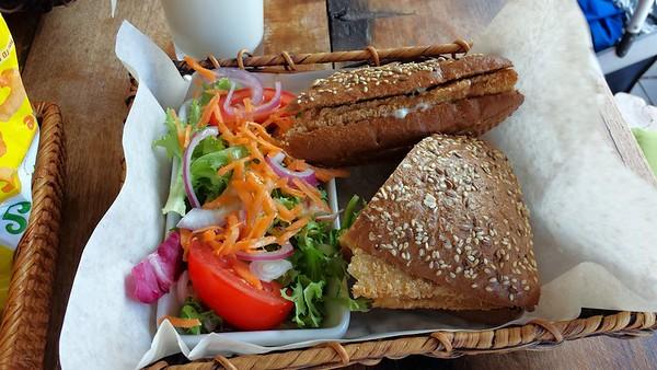 "Jumbo Cod Fish Finger Rustic Sandwich. £6.75. Served in ""One World"" in Torquay  07/07/15"