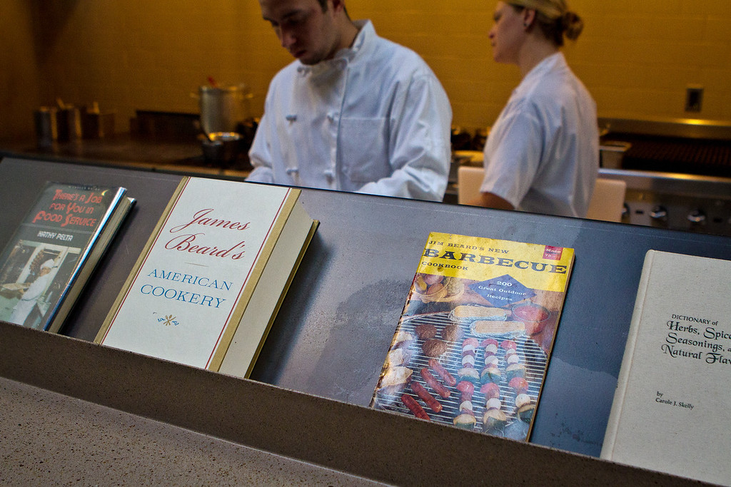 Cookbooks in front of the kitchen at Abbot's Cellar in San Francisco, Calif., is seen on Thursday, Sept. 27th, 2012.