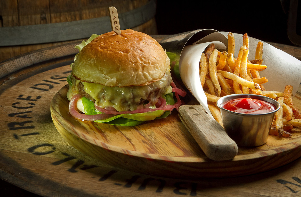 The burger and fries at American Oak restaurant in Alameda, Calif., is seen on Tuesday,  August 30th, 2012.