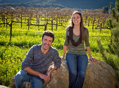 Letizia Pauletto and Enrico Bertoz of Arbe Garbe Winery in a vineyard next to their home in Rutherford, Calif., on Friday, December 16th,  2011.