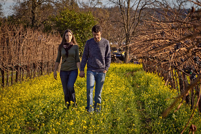 Letizia Pauletto and Enrico Bertoz of Arbe Garbe Winery walk in a vineyard next to their home in Rutherford, Calif., on Friday, December 16th,  2011.