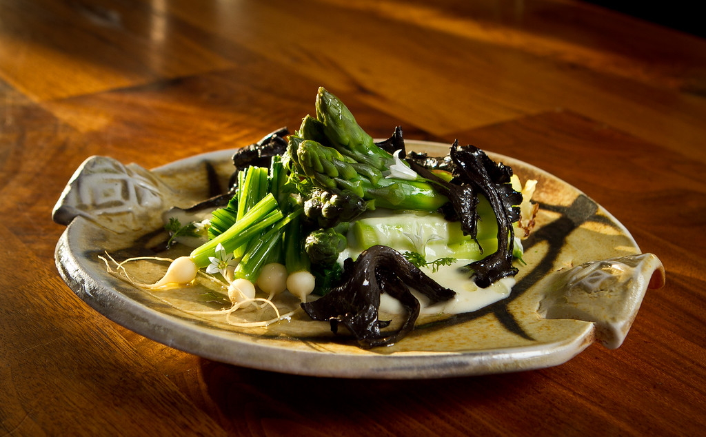 Asparagus with Black Trumpet Mushrooms at Bar Tartine in San Francisco, Calif., is seen on Thursday, March 8th, 2012.