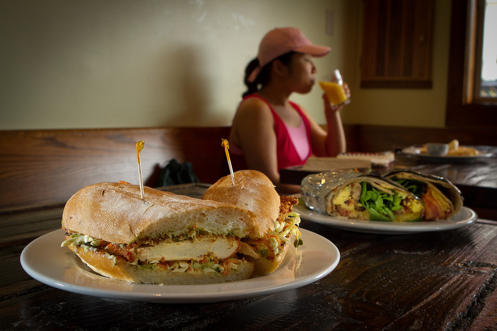 The Breakfast Burrito and the Fried Chicken Sandwich at the Beachside Coffee Bar in San Francisco, Calif. is seen on March 29th, 2012.