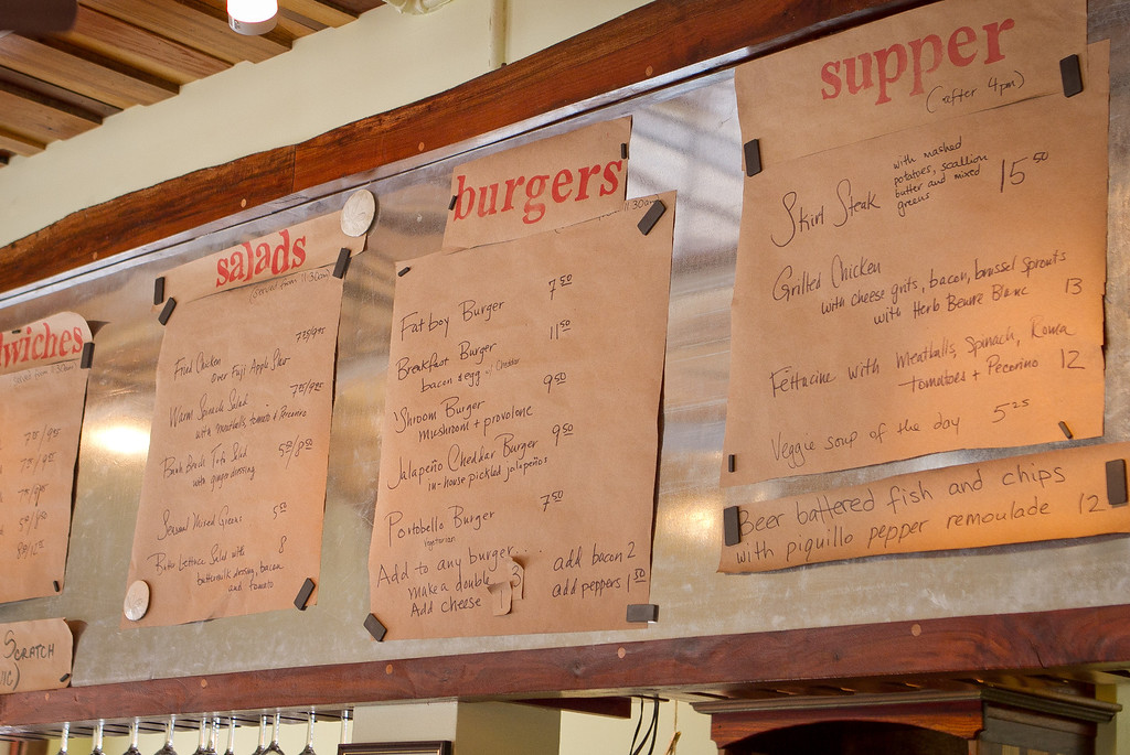 The menu at the Beachside Coffee Bar in San Francisco, Calif. is seen on March 29th, 2012.