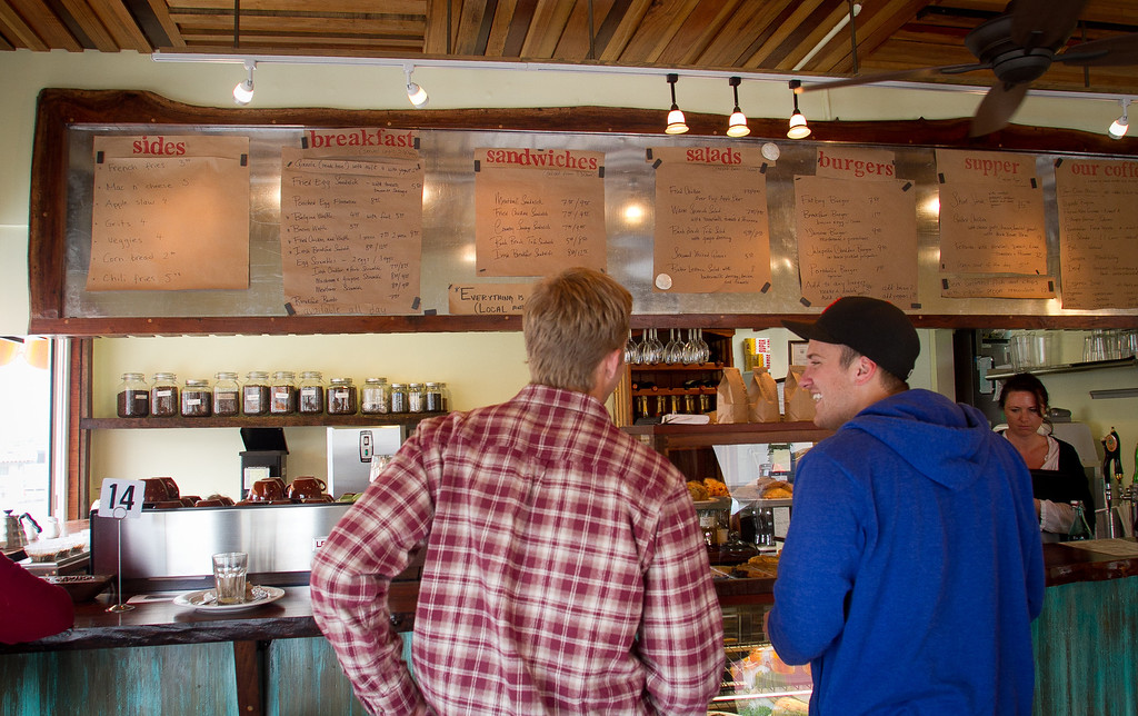 A couple of guys order at the Beachside Coffee Bar in San Francisco, Calif. on March 29th, 2012.