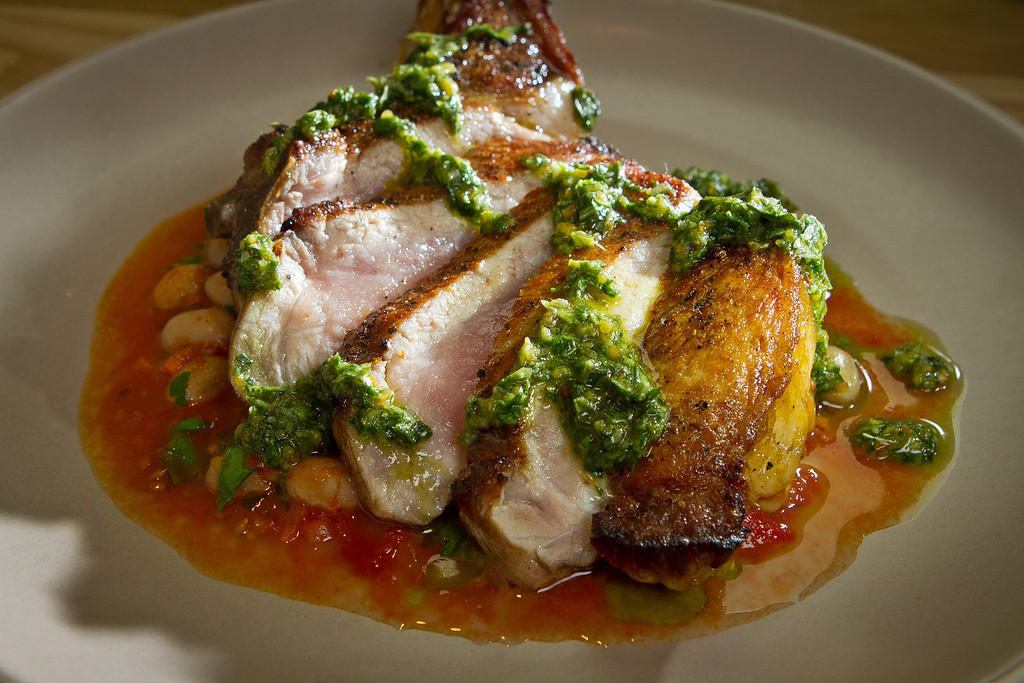 The Pan Roasted Pork Chop at Beerworks in Mill Valley, Calif., is seen on Friday, October 12th, 2012.