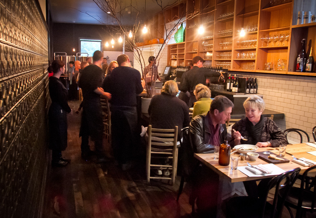 People enjoy dinner at Beerworks in Mill Valley, Calif., on Friday, October 12th, 2012.