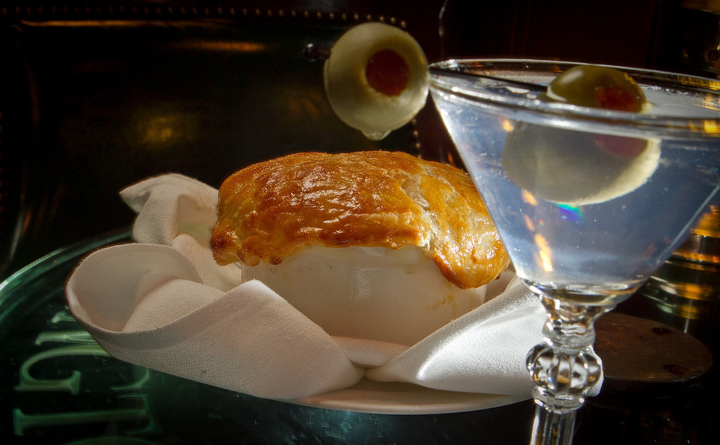The Junipero Martini with the Chicken Pot Pie at the Big 4 Bar in San Francisco, Calif., is seen on Thursday, January 19th, 2012.