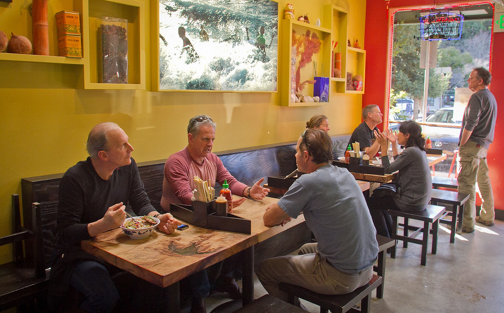 Diners enjoy lunch at Boo Koo Asian Street Food in Mill Valley, Calif., on Friday, December 2nd,  2011.