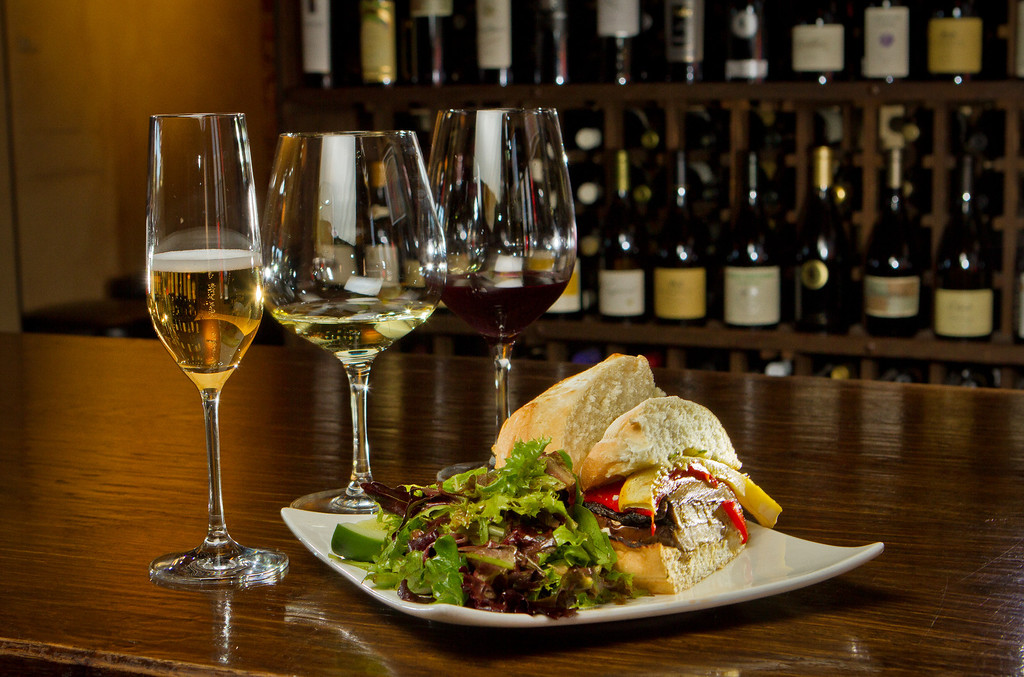 The Eggplant Sandwich with a Wine Flighty at Bounty Hunter in Napa, Calif., is seen on Wednesday, August 8th, 2012.