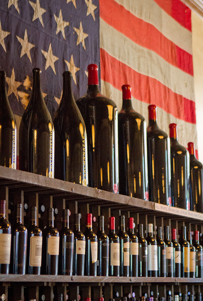 Wine on the wall at Bounty Hunter in Napa, Calif., is seen on Wednesday, August 8th, 2012.