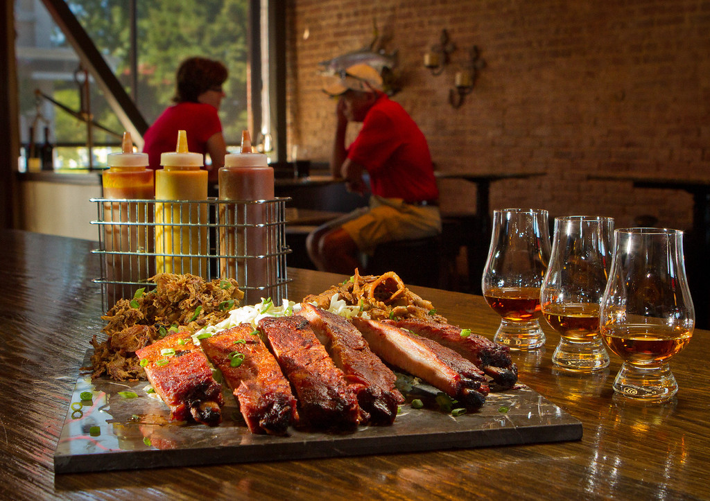 The Smokin BBQ Platter with a Whiskey Flight at Bounty Hunter in Napa, Calif., is seen on Wednesday, August 8th, 2012.