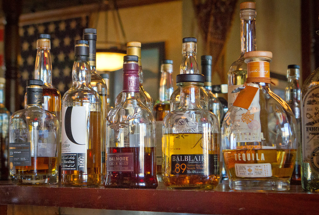 Whiskeys at the bar at Bounty Hunter in Napa, Calif., are seen on Wednesday, August 8th, 2012.