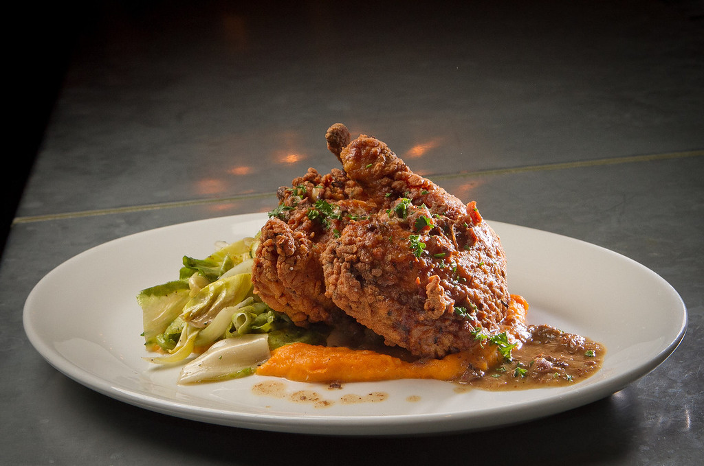 The fried Chicken at the Boxing Room Restaurant in San Francisco, Calif.,  is seen on Wednesday, December 21st,  2011.