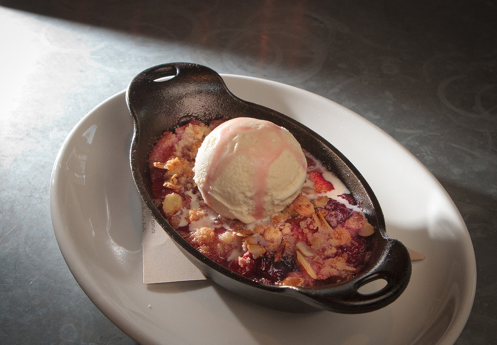 The Peach and Cheery Cobbler at the Boxing Room restaurant in San Francisco, Calif., is seen on July 27th, 2011.