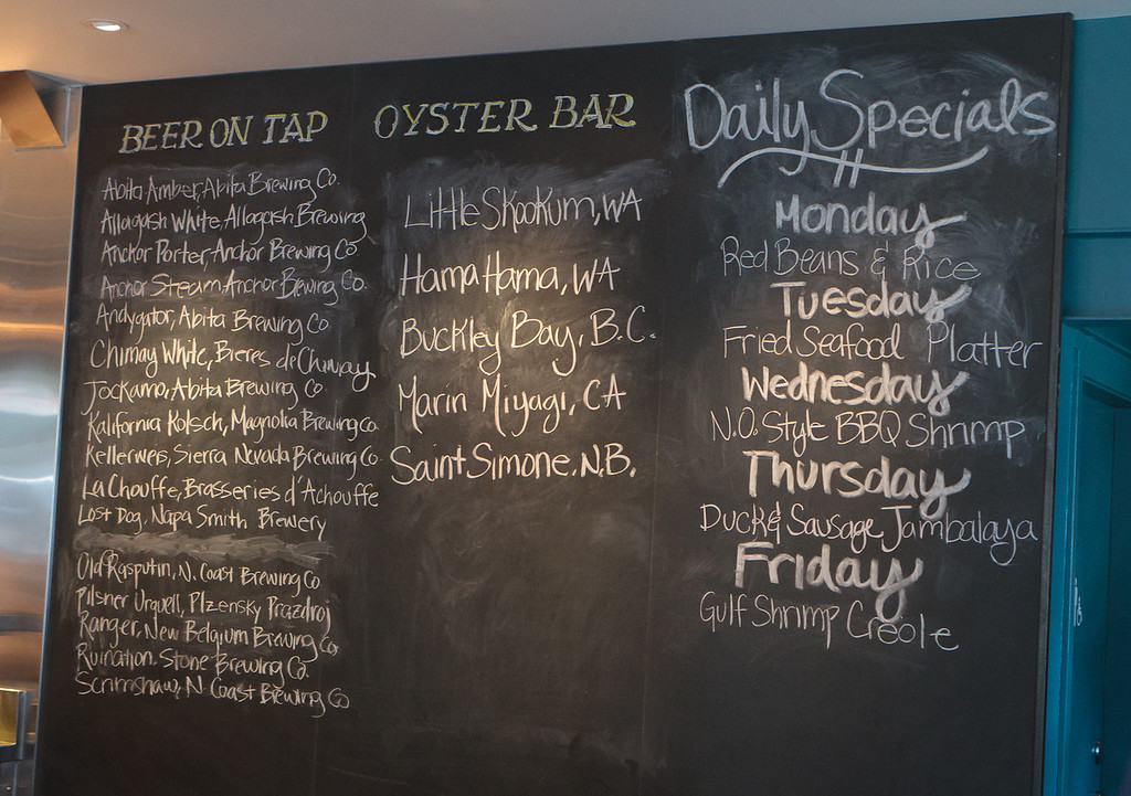 The specials board at the Boxing Room restaurant in San Francisco, Calif., is seen on July 27th, 2011.
