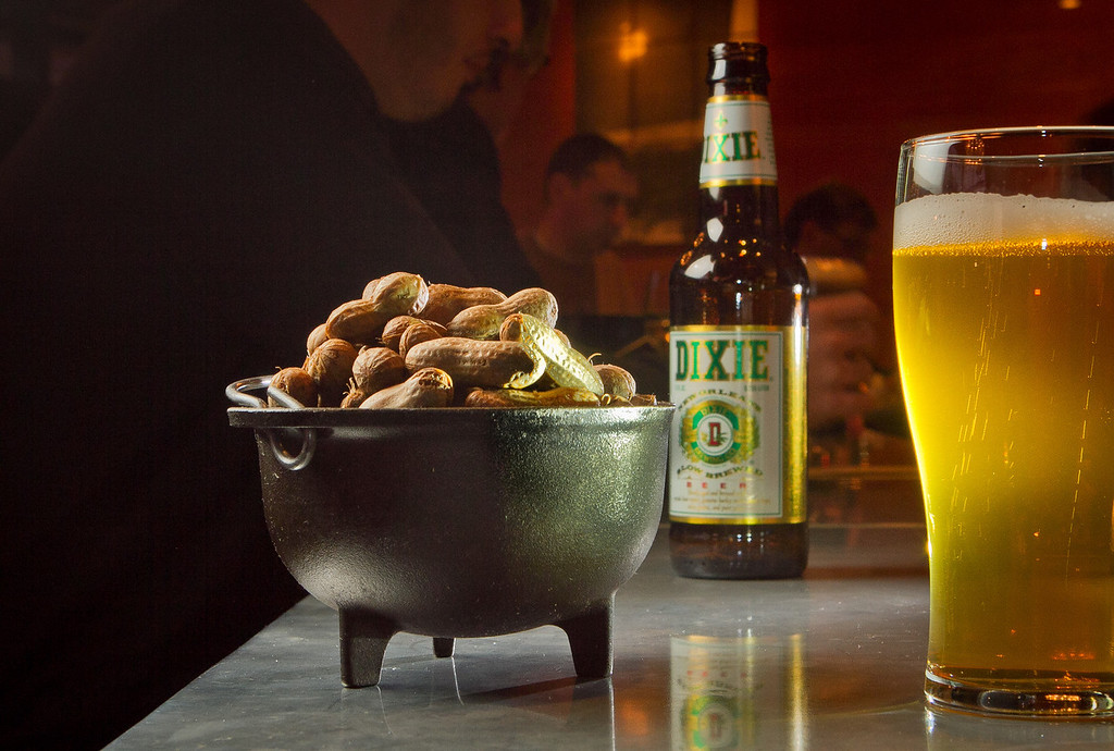 The Boiled Peanuts with a Dixie beer at the Boxing Room Restaurant in San Francisco, Calif.,  is seen on Wednesday, December 21st,  2011.