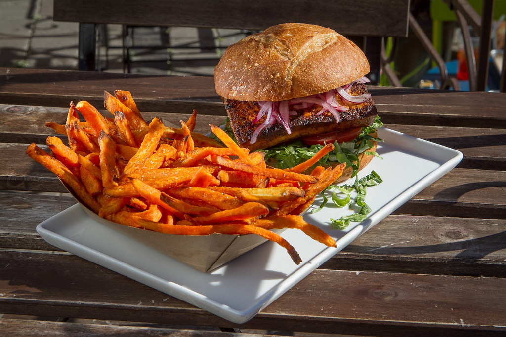 The Tofu sandwich with Sweet Potato Fries at Brasa restaurant in Berkeley, Calif.  is seen on Saturday, January 26th, 2013.