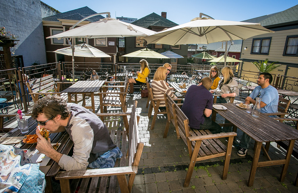 Diners enjoy lunch on the patio at Brasa restaurant in Berkeley, Calif. on Saturday, January 26th, 2013.