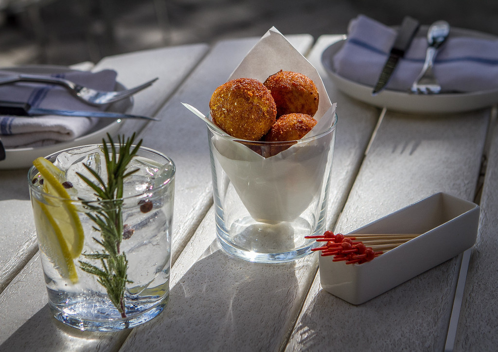 """The Creamy Chicken Croquetas with the """"Chubasco"""" Gin and Tonic at Bravas Bar de Tapas in Healdsburg, Calif. is seen on Thursday, February 7th, 2013"""
