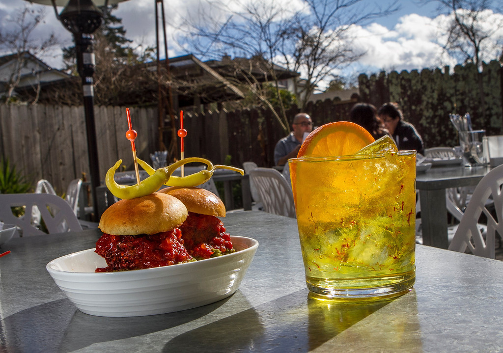 """The Duck Meatball Bocadillos with the """"Levante"""" Gin and Tonic at Bravas Bar de Tapas in Healdsburg, Calif. is seen on Thursday, February 7th, 2013"""