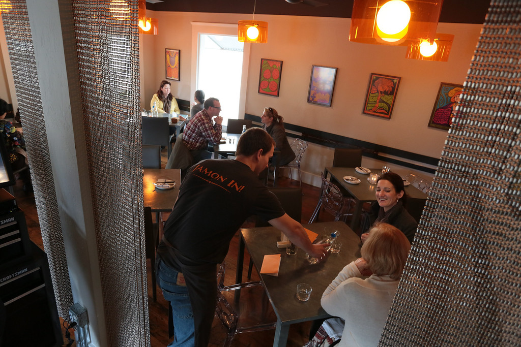 People enjoy lunch at Bravas Bar de Tapas in Healdsburg, Calif. on Thursday, February 7th, 2013