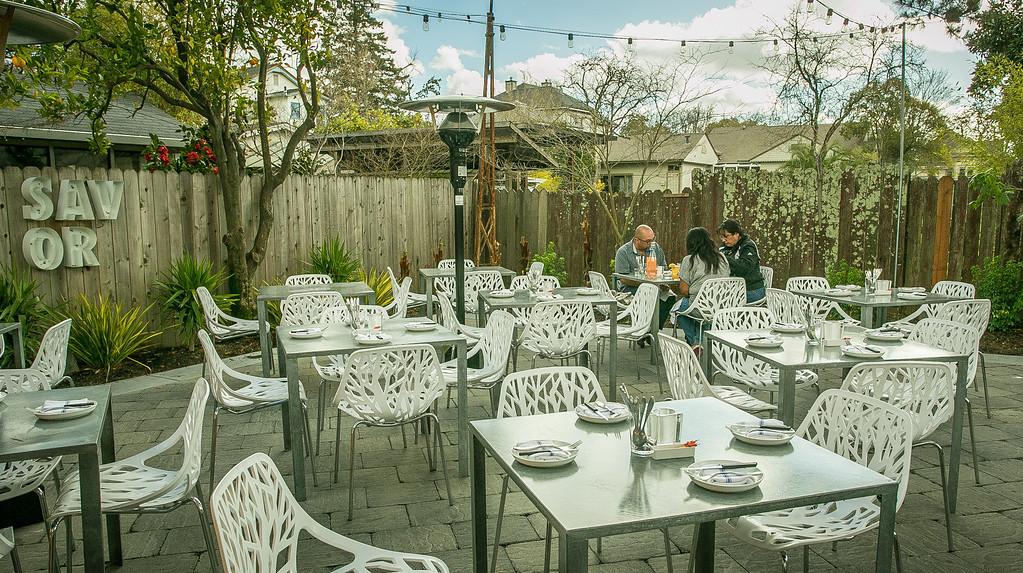 People enjoy lunch on the patio at Bravas Bar de Tapas in Healdsburg, Calif. on Thursday, February 7th, 2013