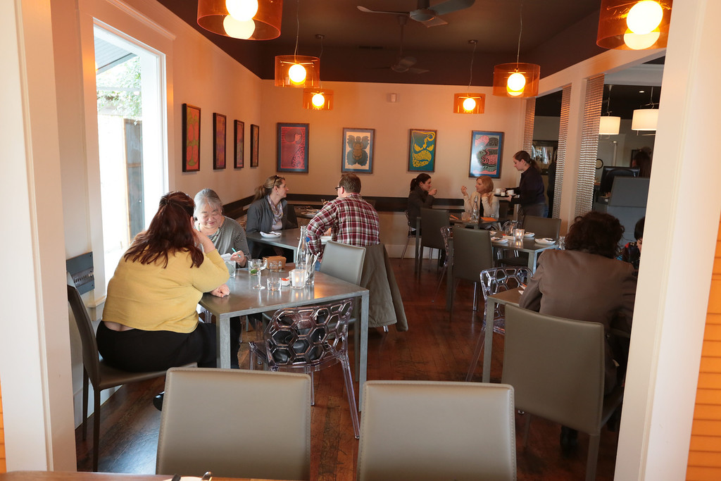 People enjoy lunch at Bravas Bar de Tapas in Healdsburg, Calif. on Thursday, February 7th, 2013
