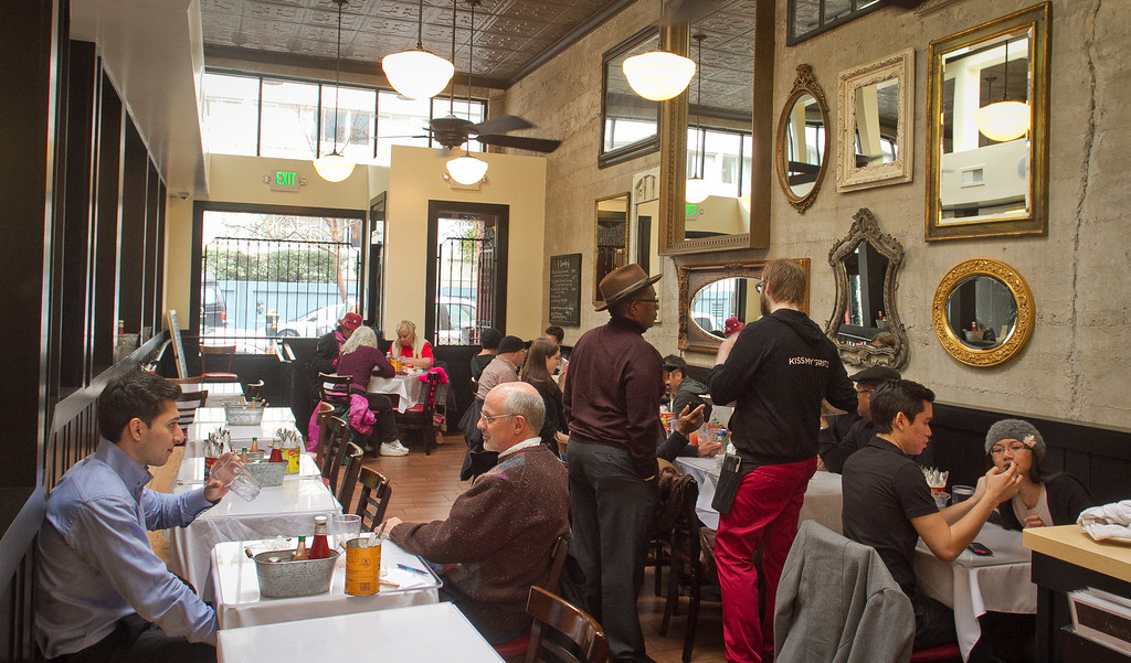 Diners enjoy lunch at Brenda's French Soul Food Restaurant in San Francisco, Calif., on Friday, January 20th, 2012.