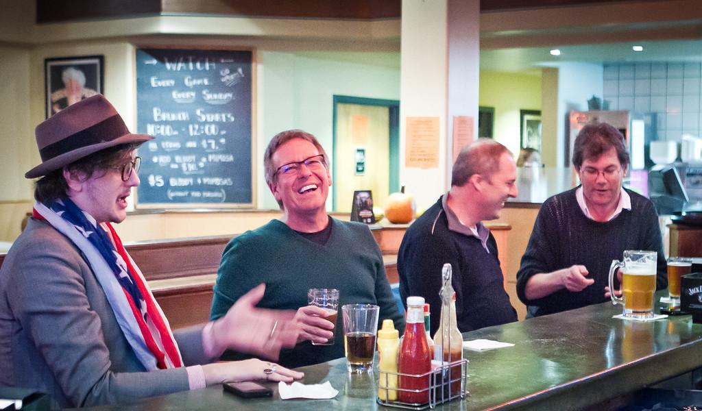 Customers enjoy happy hour at the Broken Drum Brewery in San Rafael, Calif., on Wednesday, November 7th, 2012.