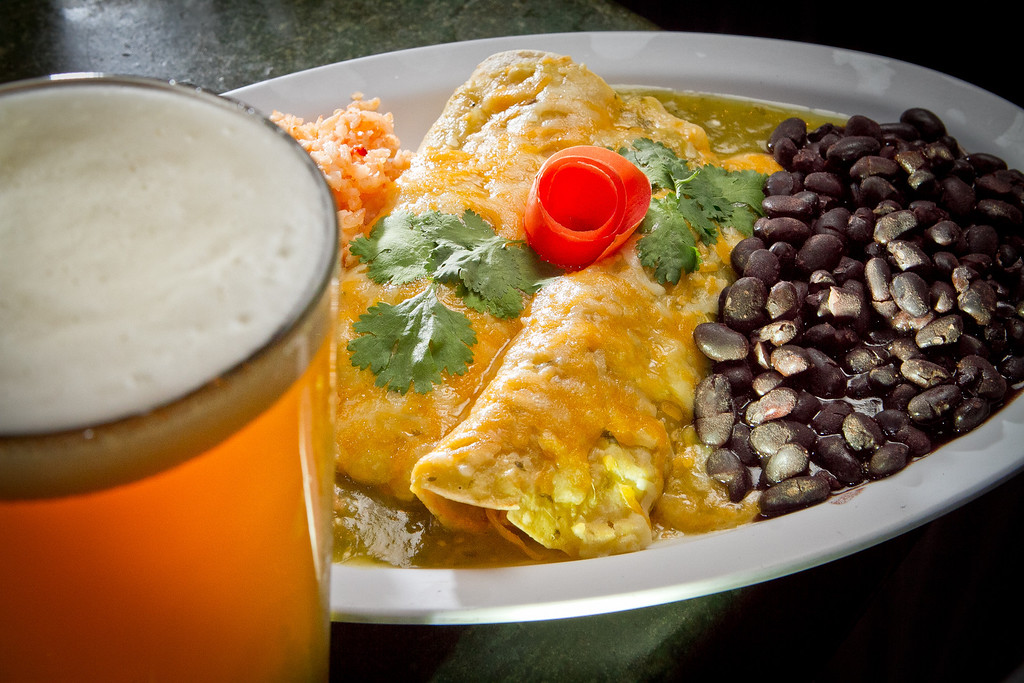The Chicken Verde Enchiladas with the Broken Drum PA at the Broken Drum Brewery in San Rafael, Calif., is seen on Wednesday, November 7th, 2012.